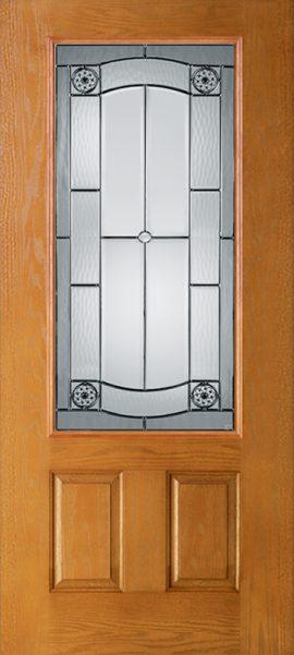 Oak Grain 2 Panel 3/4 Lite with Elan glass