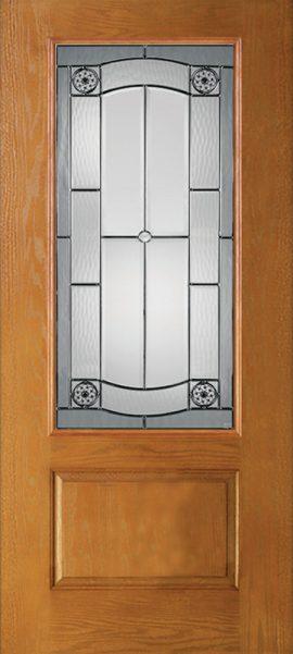 Oak Grain 1 Panel 3/4 Lite with Elan glass