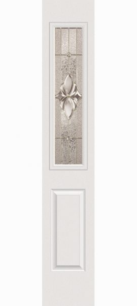 Smooth White 1/2 Lite Sidelite with Heirlooms glass