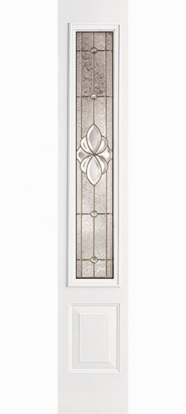 Smooth White 3/4 Lite Sidelite with Heirlooms glass