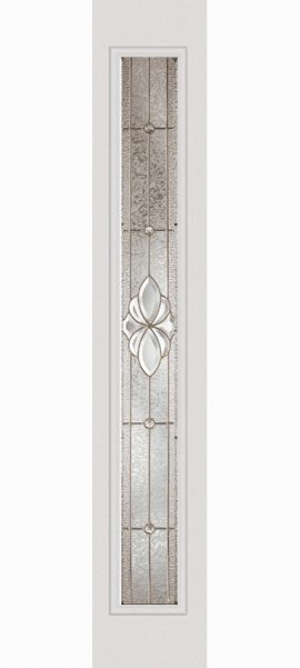 Smooth White Full Lite Sidelite with Heirlooms glass