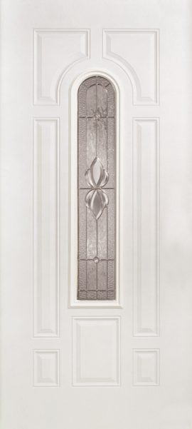 Smooth White 7 Panel Center Arch with Heirlooms glass