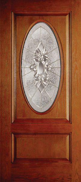 Oak Grain 1 Panel 3/4 Lite Oval Elite with Heirlooms glass