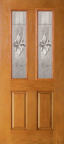 Oak Grain 2 Panel Twin 1/2 Lite with Heirlooms glass