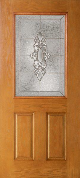 Oak Grain 2 Panel 1/2 Lite with Heirlooms glass