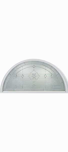 Smooth White Half Round Transom with Laurel glass