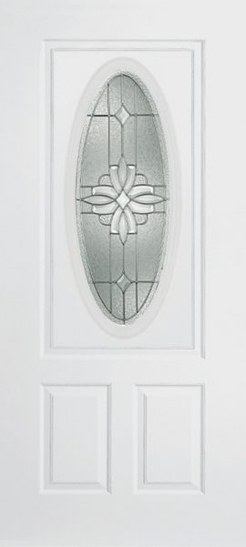 Smooth White 2 Panel 3/4 Lite Oval Elite with Laurel glass