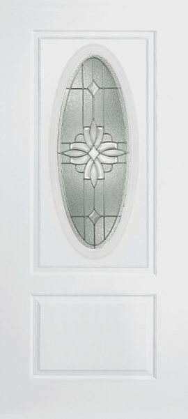 Smooth White 1 Panel 3/4 Oval Elite with Laurel glass