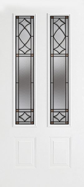 Smooth White 2 Panel Twin 3/4 Lite with London glass
