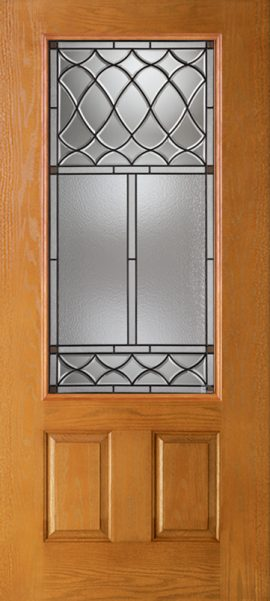 Oak Grain 2 Panel 3/4 Lite with London glass