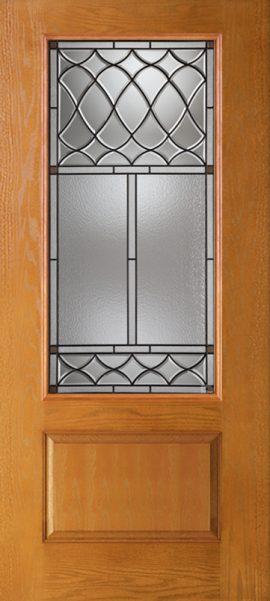 Oak Grain 1 Panel 3/4 Lite with London glass
