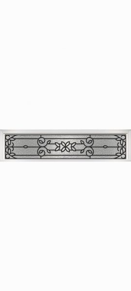 Smooth White Rectangle Transom with Mediterranean glass