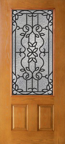 Oak Grain 2 Panel 3/4 Lite with Mediterranean glass