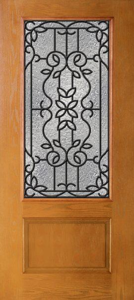 Oak Grain 1 Panel 3/4 Lite with Mediterranean glass