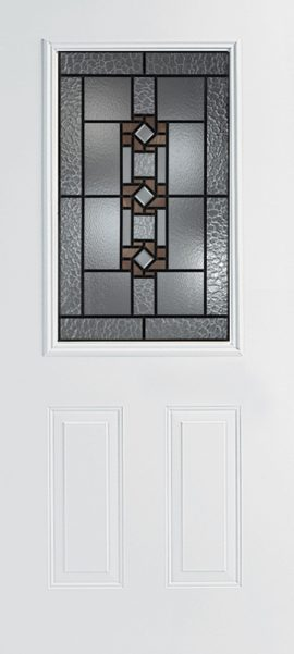 Smooth White 2 Panel 1/2 Lite with Mission Ridge glass