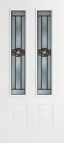 Smooth White 2 Panel Twin 3/4 Lite with Mission Ridge glass