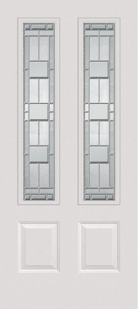 Smooth White 2 Panel Twin 3/4 Lite with Monterey glass