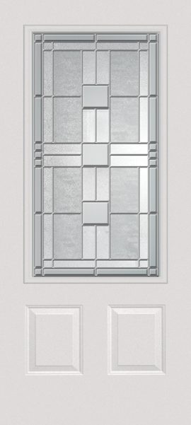 Smooth White 2 Panel 3/4 Lite with Monterey glass