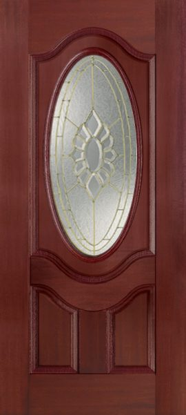 Mahogany 2 Panel 3/4 Lite Oval Deluxe with Princess glass
