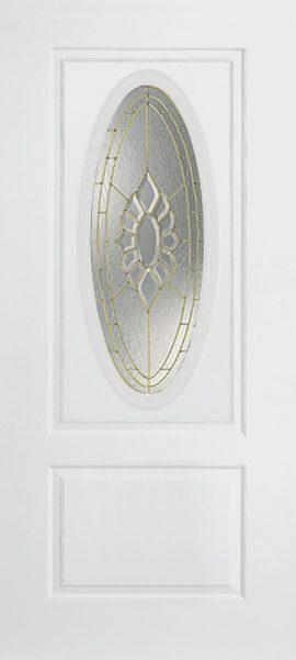 Smooth White 1 Panel 3/4 Lite Oval Elite with Princess glass