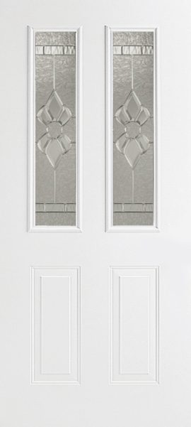 Smooth White 2 Panel 1/2 Lite with Princess glass