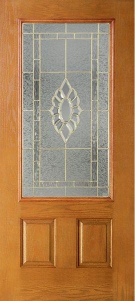 Oak Grain 2 Panel 3/4 Lite with Princess glass