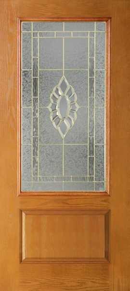 Oak Grain 1 Panel 3/4 Lite with Princess glass