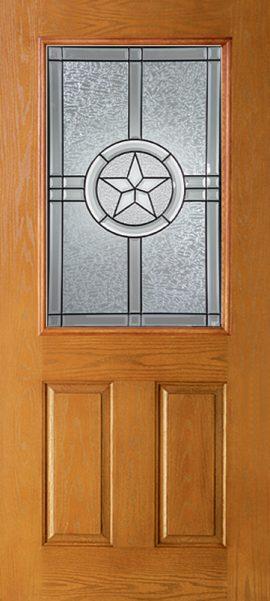 Oak Grain 2 Panel 1/2 Lite with Radiant Star glass