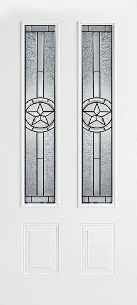 Smooth White 2 Panel Twin 3/4 Lite with Radiant Star glass
