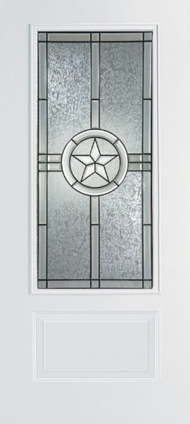 Smooth White 1 Panel 3/4 Lite with Radiant Star glass