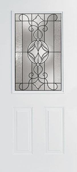 Smooth White 2 Panel 1/2 Lite with Renfield glass