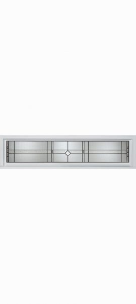 Smooth White Rectangle Transom with Riverwood glass