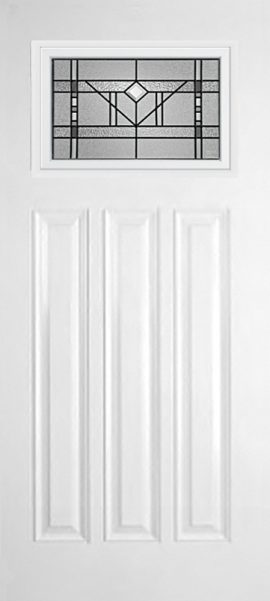 Smooth White 3 Panel Craftsman with Riverwood glass