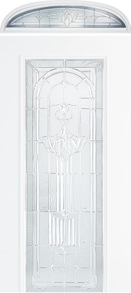 Smooth White Ellipse Transom with Royal Fountain glass