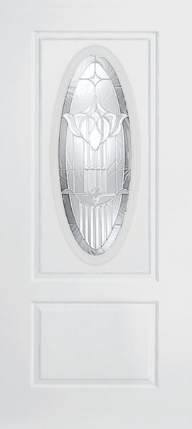 Smooth White 1 Panel 3/4 Lite Oval Elite with Royal Fountain glass