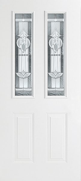 Smooth White 2 Panel Twin 1/2 Lite with Royal Fountain glass