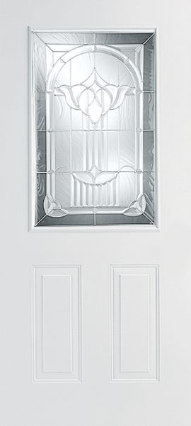 Smooth White 2 Panel 1/2 Lite with Royal Fountain glass