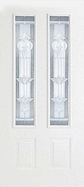 Smooth White 2 Panel Twin 3/4 Lite with Royal Fountain glass