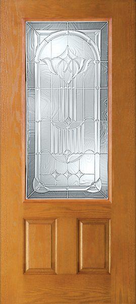 Oak Grain 2 Panel 3/4 Lite with Royal Fountain glass