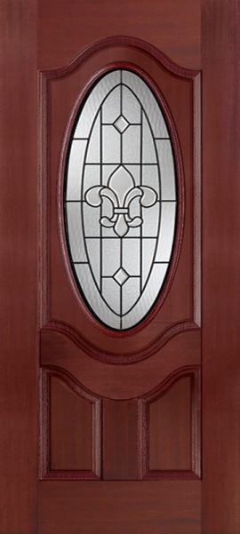 Mahogany 2 Panel 3/4 Lite Oval Deluxe with St. Charles glass