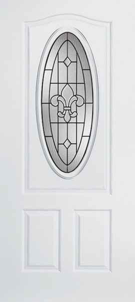Smooth White 2 Panel 3/4 Lite Oval Elite with St. Charles glass