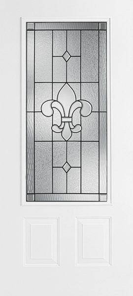 Smooth White 2 Panel 3/4 Lite with St. Charles glass