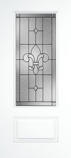 Smooth White 1 Panel 3/4 Lite with St. Charles glass