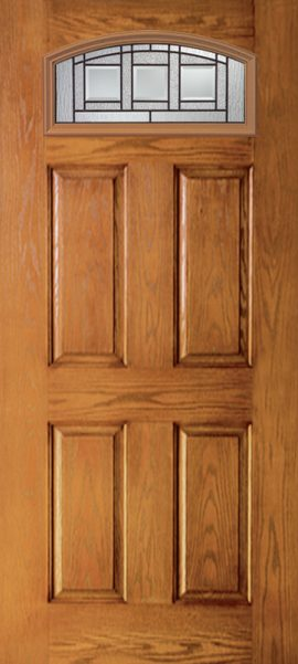 Oak Grain 4 Panel Camber Top with Vintage Craftsman glass