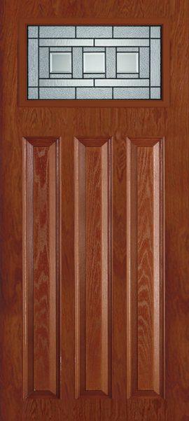 Oak Grain 3 Panel Craftsman with Vintage Craftsman glass