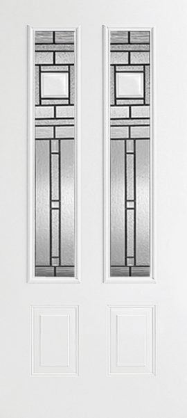 Smooth White 2 Panel Twin 3/4 Lite with Vintage Craftsman glass