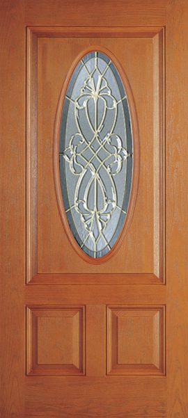 Oak Grain 2 Panel 3/4 Lite Oval Elite with Windsor glass