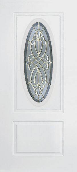 Smooth White 1 Panel 3/4 Oval Elite with Windsor glass