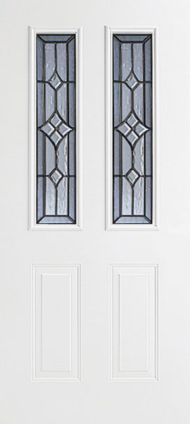 Smooth White 2 Panel Twin 1/2 Lite with Windsor glass