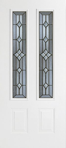 Smooth White 2 Panel 3/4 Lite with Windsor glass